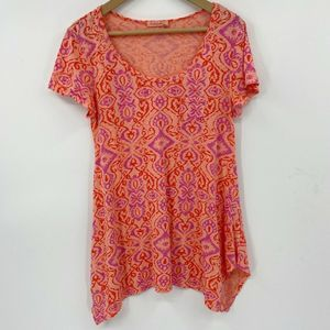 Fresh Produce Short Sleeve Handkerchief Hem Tunic
